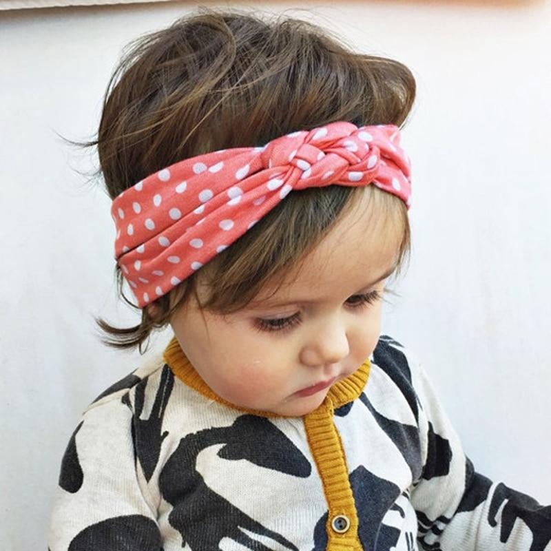 Infantil dot baby haibands Baby meisje gedraaide hoofdtooi haarbanden Bandana hoofd wrap haaraccessoires voor kinderen 1pc HB444