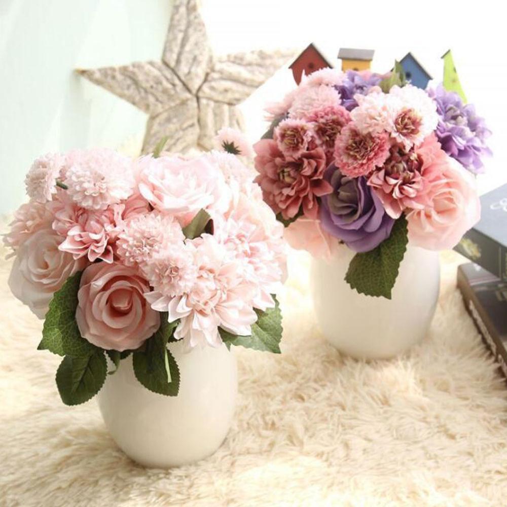 Fake Flower For Artificial Flowers Bouquet Rose Dahlia Fall Vivid Wedding Home Party Christmas Decor Silk Flower Xf30
