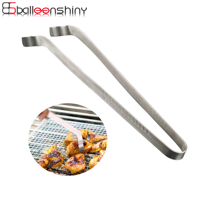 BalleenShiny Barbecue Tongs Stainless Steel Pizza Bread Steak Salad Tong Clip Heat Resistant Food Tongs Kitchen BBQ Buffet Tool
