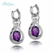 l zuan 925 Sterling Silver Natrual 5 08ct Amethyst Purple Quartz Flower Drop Fine Jewelry Christmas