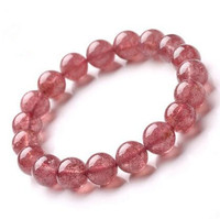 Top Quality Natural Red Ice Strawberry Quartz Crystal Bracelet 9mm 10mm 11mm Round Beads Woman Man Gemstone Jewelry AAAAA