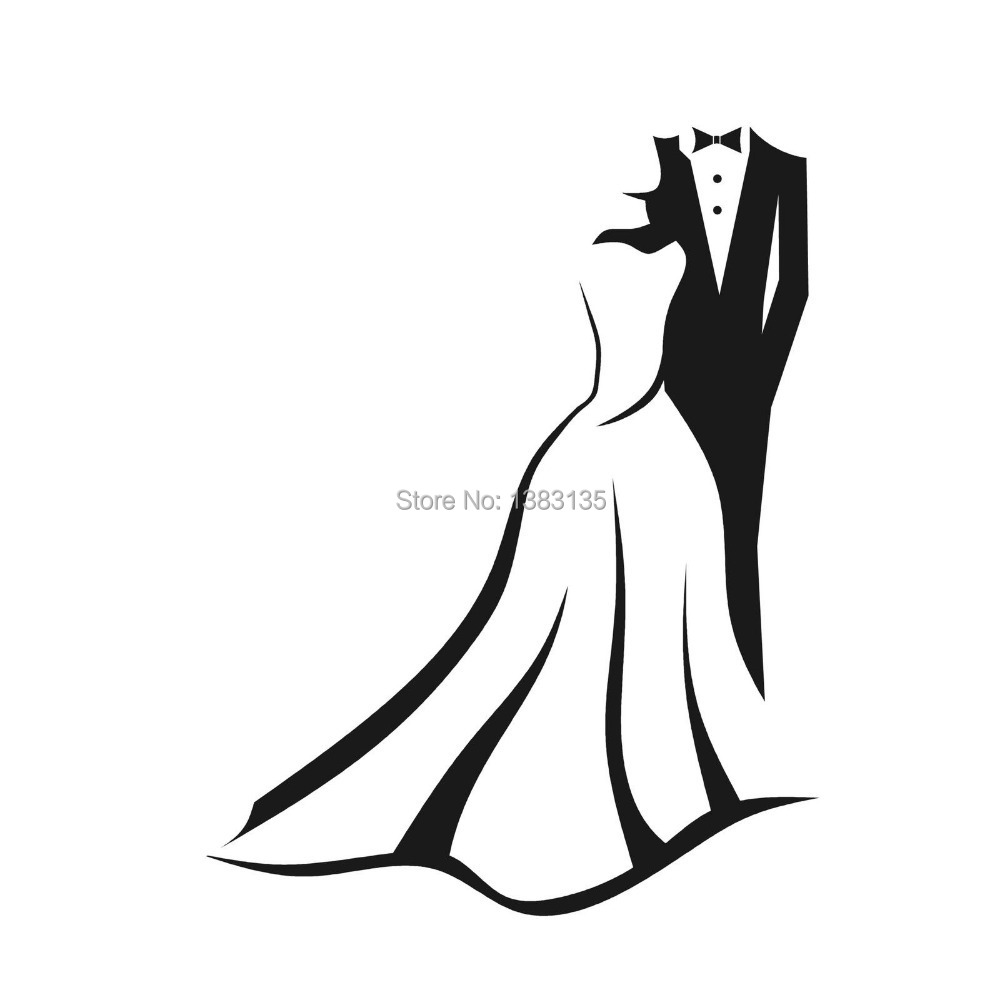 wedding outfits silhouette car window sticker vinyl decal