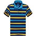 Más tamaño 8XL 6XL 5 XLpolos 2016 Nuevos hombres de Moda de Los Hombres Camisa A Rayas de algodón de cuello redondo Corto de Gran entrega gratuita gratis