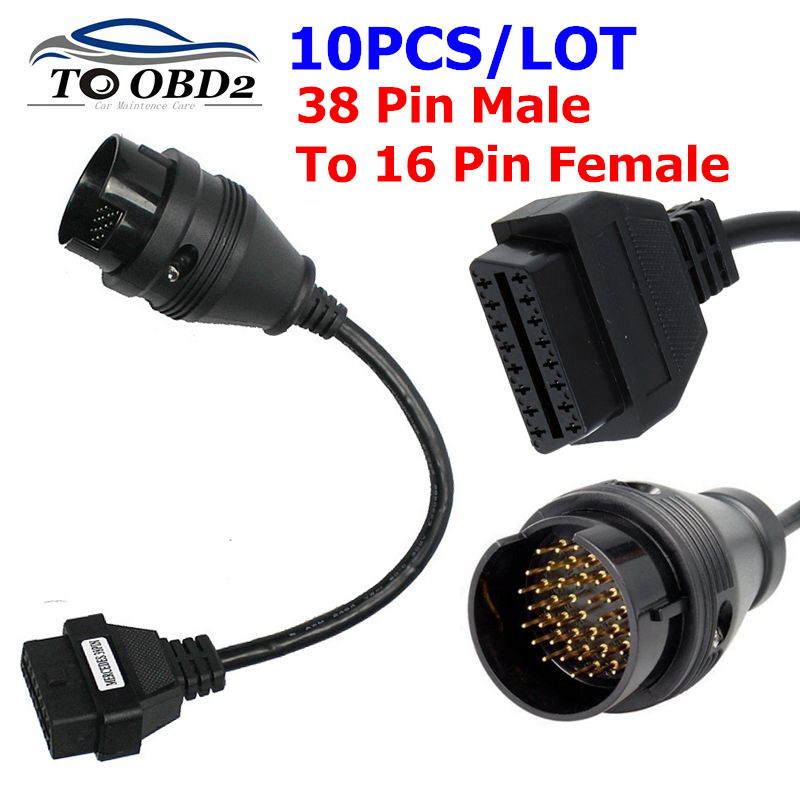 10PCS/LOT Diagnostic Cable For BENZ 38PIN TO OBD OBD2 16Pin Female Connector 38 Pin Car Cable 38 Pin Male to 16 Pin Female