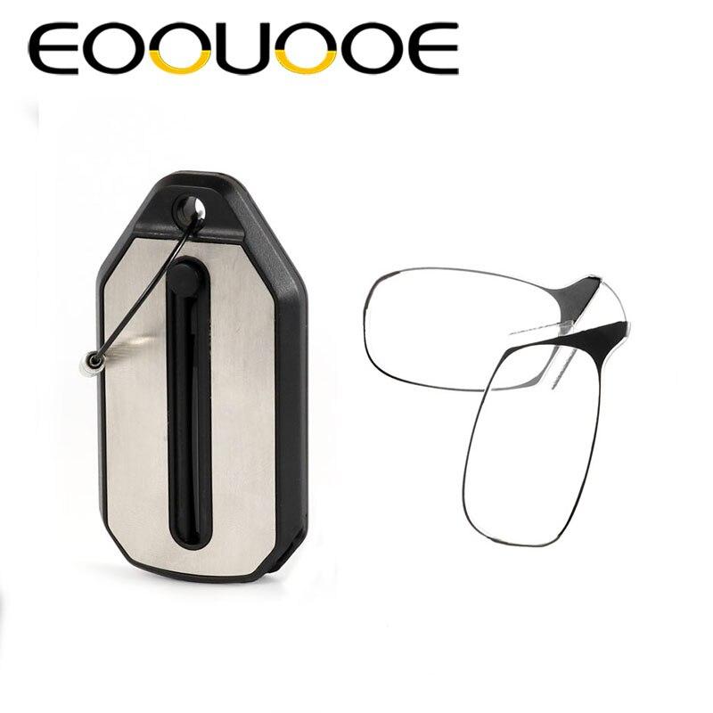 EOOUOOE 2018 NEUE Clip Lesebrille Männer Frauen Mini Ultraleicht SOS Brieftasche Älteren Gläser Mit Box Oculos De Grau Falten glasse