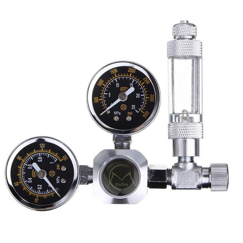 Aquarium G5/8 CO2 Regulator Double Gauge Aluminum Alloy Acrylic Flow Meter Control Valve Reducer Welding Decompression Table g5 8 14h f oxygen regulator welding accessories