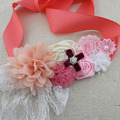 1 pcs New coral ivory pink flower sash vintage style belt flower girl sash Birthday outfit sash