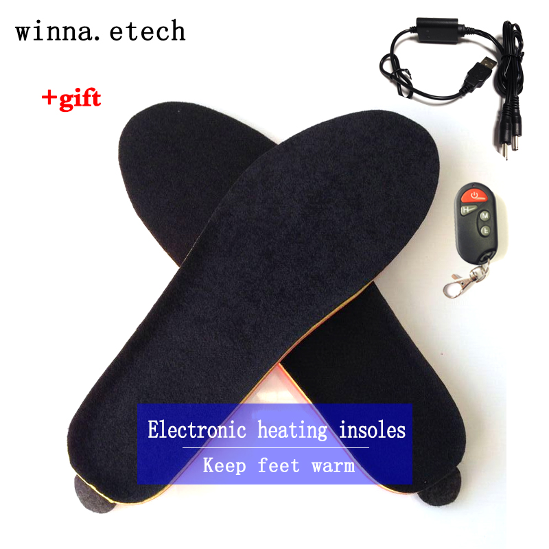 NEW Winter wireless heating insoles with remote control women shoes boot insoles SKI CAMPING insoles for women and men