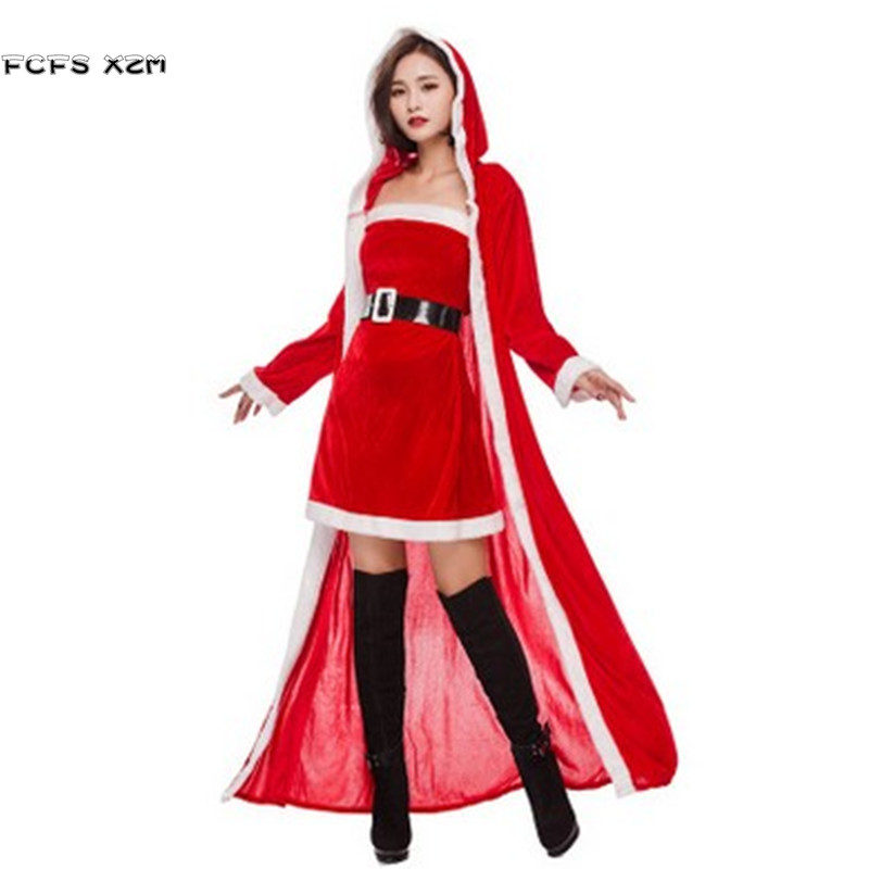 Deluex Long Cloak Women Halloween Little Red Riding Hood Costume Female Christmas Party Cosplays Carnival Purim stage show dress