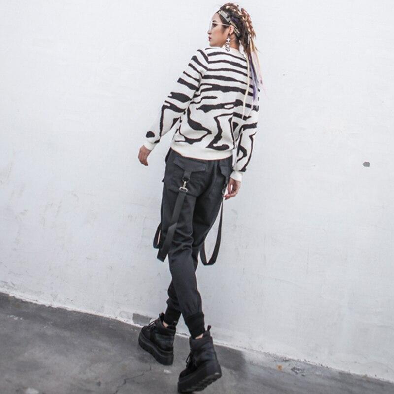 Femelle Up Pocket Harajuku Lace Pour Lanterne Printemps Vêtements Pantalon Noir 2018 Grande Patchwork Taille Ribbontrouser Femmes nXqxfwtFw8