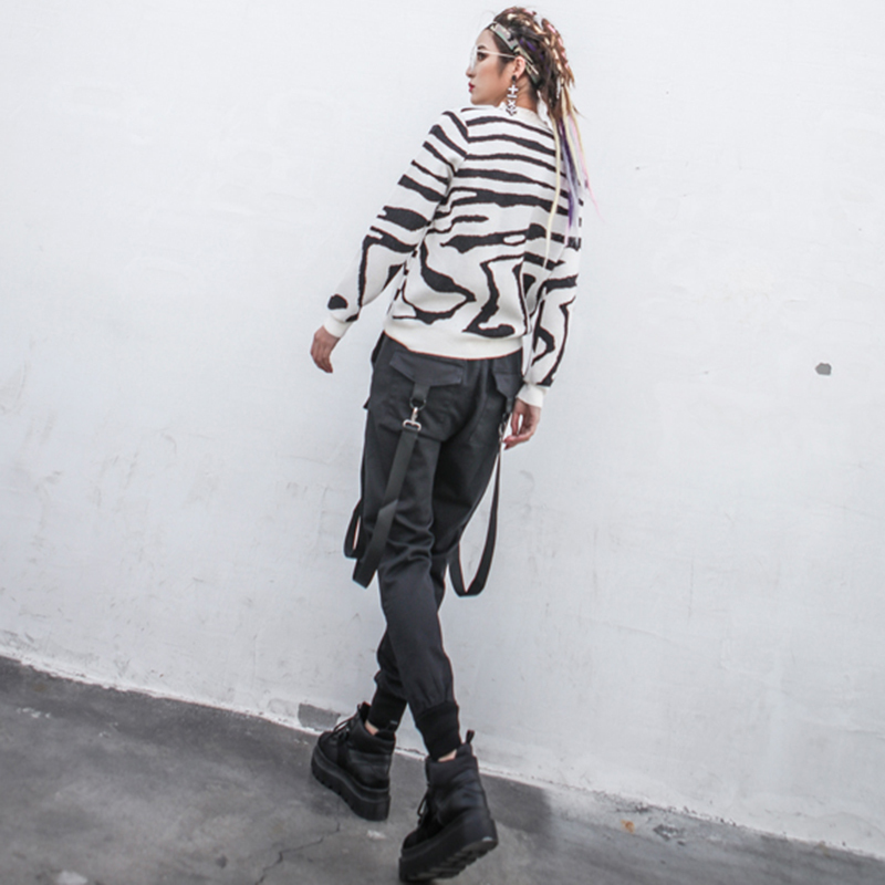 Farol De Hasta 2018 Harajuku Negro Grande Patchwork Bolsillo Talla Ropa Encaje Mujer Primavera Ribbontrouser Pantalones Para 87gqwxYnF