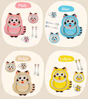 Baby cartoon dinnerware cute raccoon kids bamboo fiber tableware baby feeding plate 5pcs/set