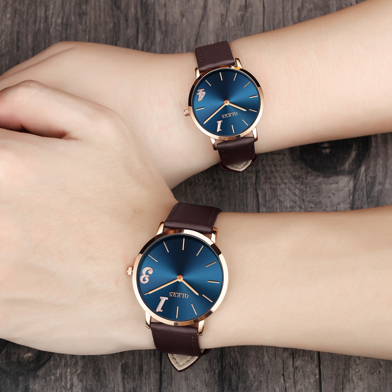 OLEVS Romantic Lovers Wristwatches Top Brand Luxury Gold Case Ultra Thin Clock Men/Women Couple Leather Waterproof Watches 2861C olevs luminous hands women men quartz watch luxury gold case leather ladies wristwatches steel belt couple lovers watches clock