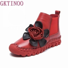 Big Flower Womens Ankle Boots Soft Flats Shoes Fashion Women Autumn Winter Genuine Leather Shoes Female Large Size 40 41