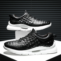 ZSAUAN Crocodile Pattern Genuine Leather Spring Fall Men Casual Loafers Men Lace up Comfortable Soft Young Men Trend Sneakers