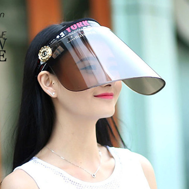 Summer Holiday Neon Sun Visors Sunvisor Party Hat Clear Plastic Cap Motor  Peak Caps Anti-UV Sun Protection Bicycle Hats wholesal 9be6849d408