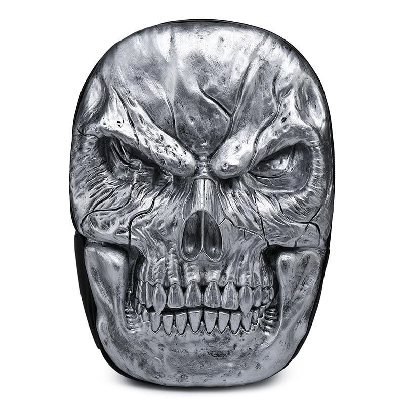 цена на Punk Black Skull 3D Backpack Halloween Vintage Rock Shoulder Bag PU Leather Men Women Large Capacity Laptop School Travel Bags