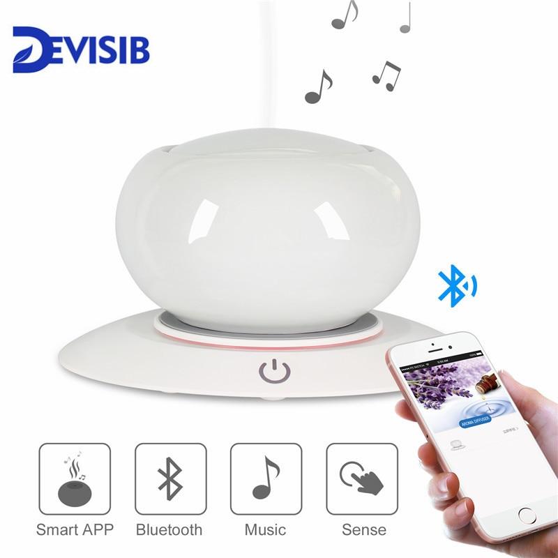 DEVISIB Altoparlante del Bluetooth di Ceramica Aroma Olio Essenziale Diffusore Senz'acqua Auto Shut-off 7 di Colore del LED Ad Ultrasuoni Umidificatore