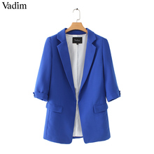 Vadim women basic notched collar solid blazer beading pearl pockets candy colors female retro casual outwear chic tops CA005