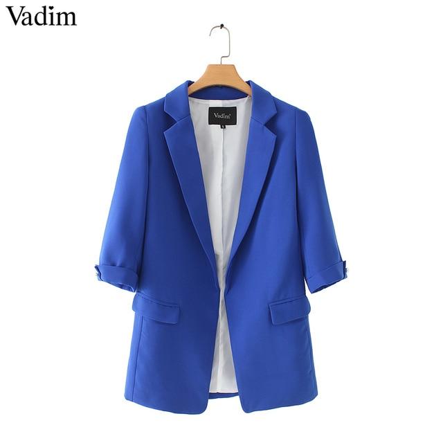 Vadim נשים בסיסית מחורצים צווארון מוצק בלייזר ואגלי פרל כיסי סוכריות צבעים נקבה רטרו מקרית להאריך ימים יותר שיק חולצות CA005