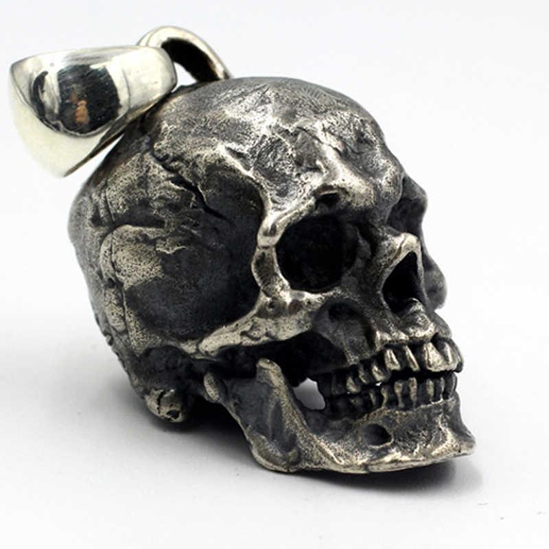 925 ESTERLINA SÓLIDA PRATA Thai MENS Esqueleto CRÂNIO Gótico do Artesão PINGENTE Charme Jóias A3185