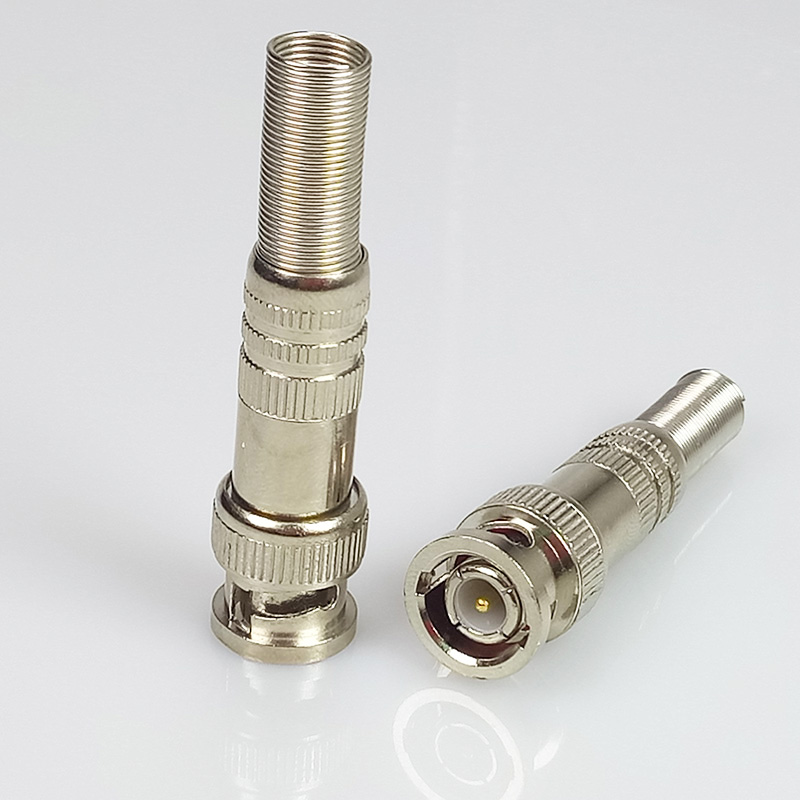 10pcs/lot BNC Male Connector with Spring Nickel Plated Screw Solder Free BNC RG59 Connector for CCTV Camera BNC Adapter