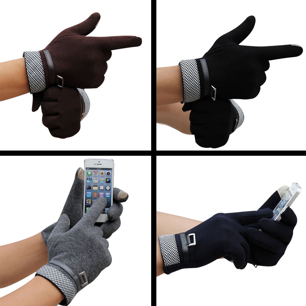 Best Price! Fashion Men Touch Screen Winter Outdoor Sport Warm Gloves Cotton Material wool gloves 2018 Vicky