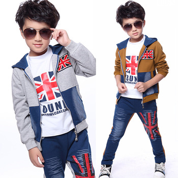 Boys Spring and Autumn Wear Suit for Children Sport Suits Denim Three Piece Kids Clothing Sets Yellow Grey Khaki