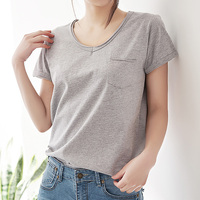 2017 Women's Summer Casual T Shirts Young Girls Cotton Basic T-Shirts Female Solid White Loose Tops Ladies Short Sleeve T-shirts