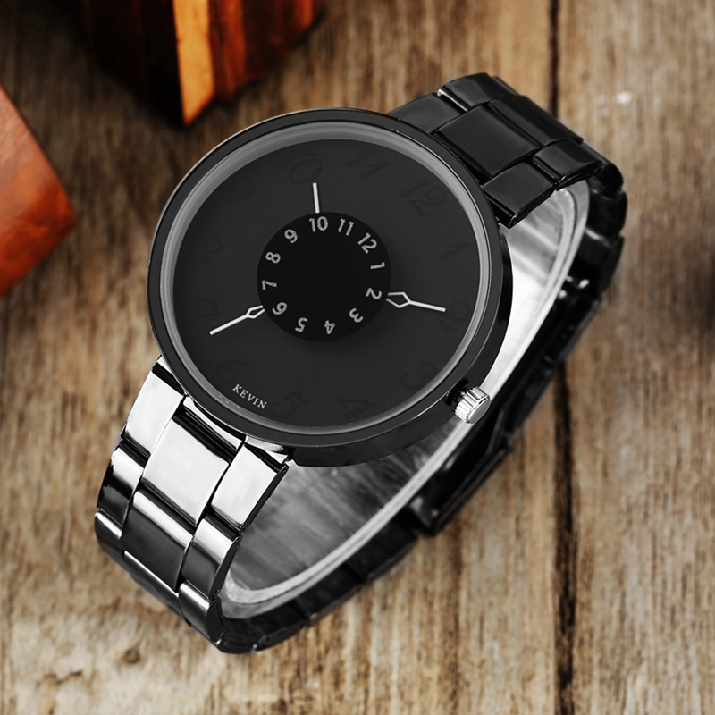 Simple Fashion Watch Men Clock Women Quartz KEVIN Unique Turntable Analog Round Dial Casual Numerals Hours reloj para hombre 9 inch 800 480 screen car roof mount lcd color monitor flip down screen overhead multimedia video ceiling roof mount display