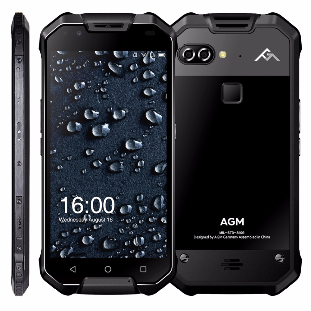 "AGM X2 IP68 Waterproof Mobile Phone Dual 12MP Rear Cameras 16MP Front Snapdragon 653 6G+64GB 6000mAh 5.5"" FHD 4G Lte Dustproof"