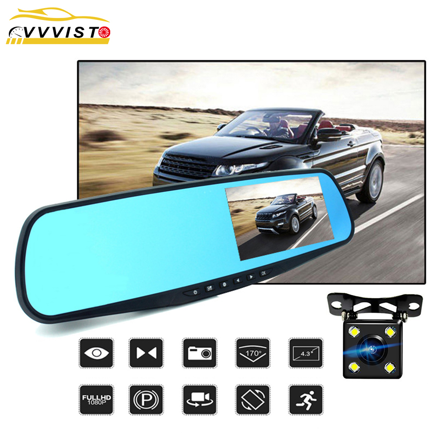 Full HD 1080P Car Dvr Camera Auto 4.3 In Rearview Mirror DVR Dash For Recorder Video Registrator Mini Avtoregistr