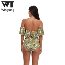 high waist swimwear female Lotus leaf bathing suit Ruffle Vintage Bandeau swimsuit push up bikini swimming wear