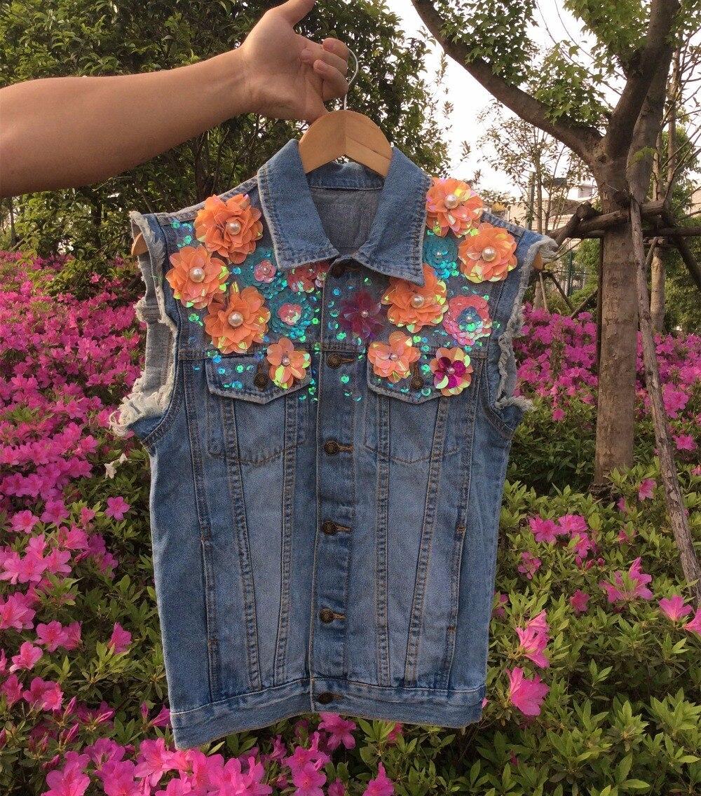 Denim Vest Women Autumn Fashion Handmade Flowers Beading Loose Female Jeans Coat Sleeveless Waistcoat