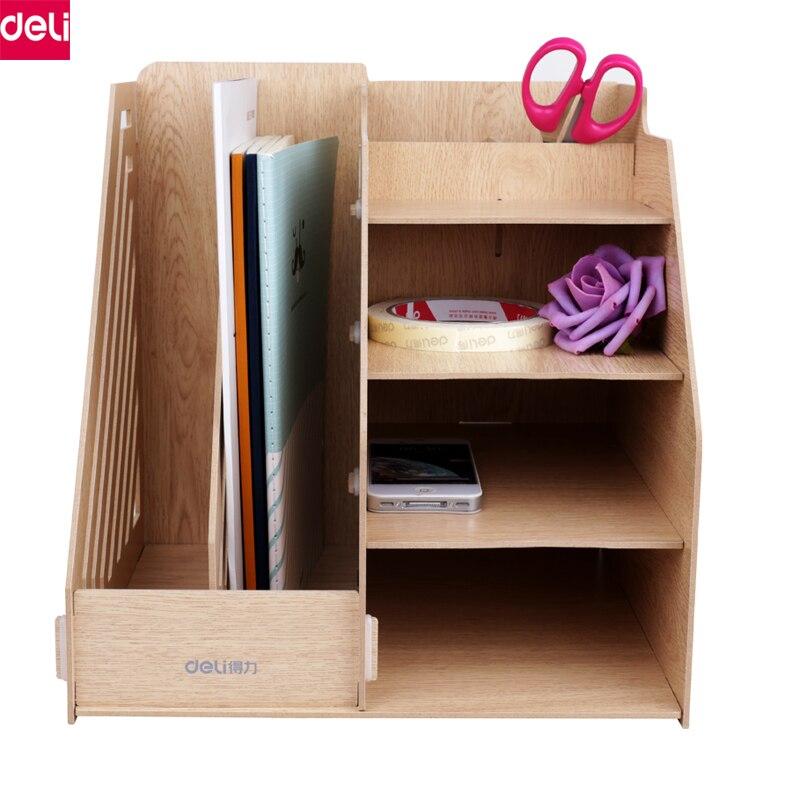 цена на Deli Wooden Desk Organizer Office Desk Organizer Pen Holder School Stationery Supply Gift Cute Stationery Office School Supplies