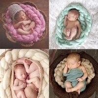 Pasgeboren Fotografie Props Baby Foto Deken 6 Kleuren 4 M Lange Mand Acryl Filler Gevlochten Mand Stuffer atrezzo fotos bebe