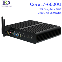 Latest Fanless Mini PC,Industrail Computer,6th Gen. SKYLAKE i7-6600U,HD Graphics 520,4096×2304,DP+HDMI+4USB3.0,Card Reader,Win10