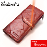 Men Women Wallets 100 Genuine Cowhide Leather Ladies Cell Phone Wallet With Coin Purse Red Long