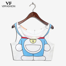VIP FASNHION NEW ARRIVAL Crop Top Girl Women Cartoon Women Print tank tops Mixed Comics Jingle Cat Colorful sleeveless Tee Vest(China)