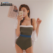 Patchwork Army Green Swimwear Women One Piece Swimsuit Sexy Tankini Padded Bodysuit XL Bathing Suit for Lace Up