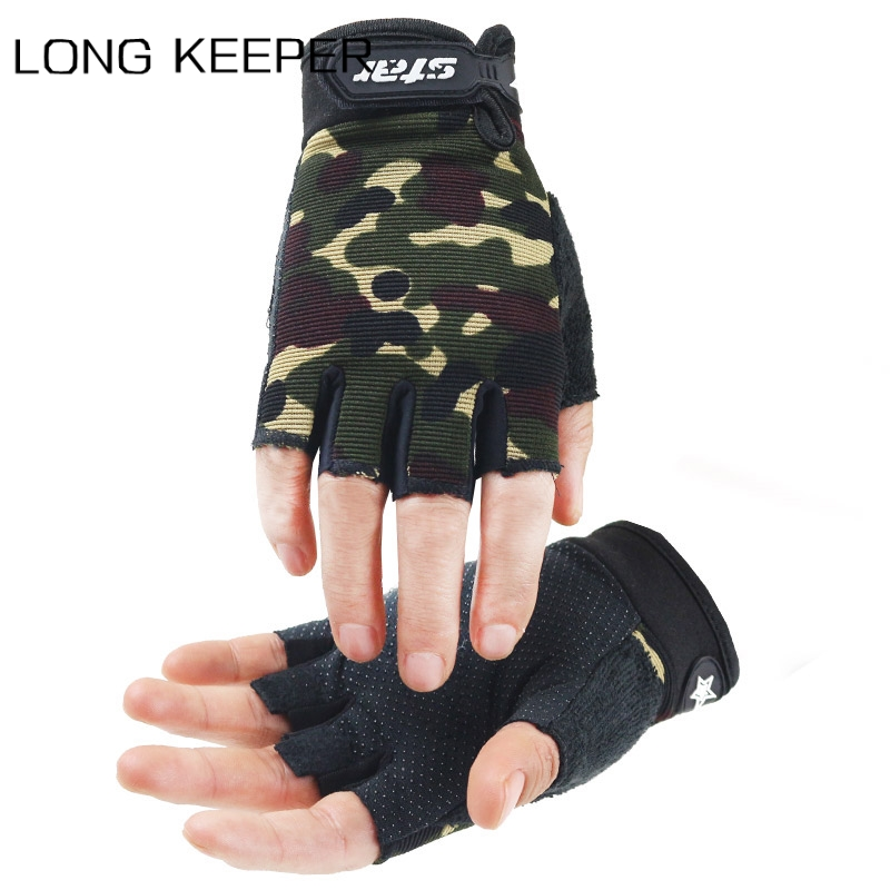 Half Finger Cycling Gloves Men Women Fingerless Non-slip Breathable Mittens Camo Gloves for Kids Outdoor Sport Fitness Luva