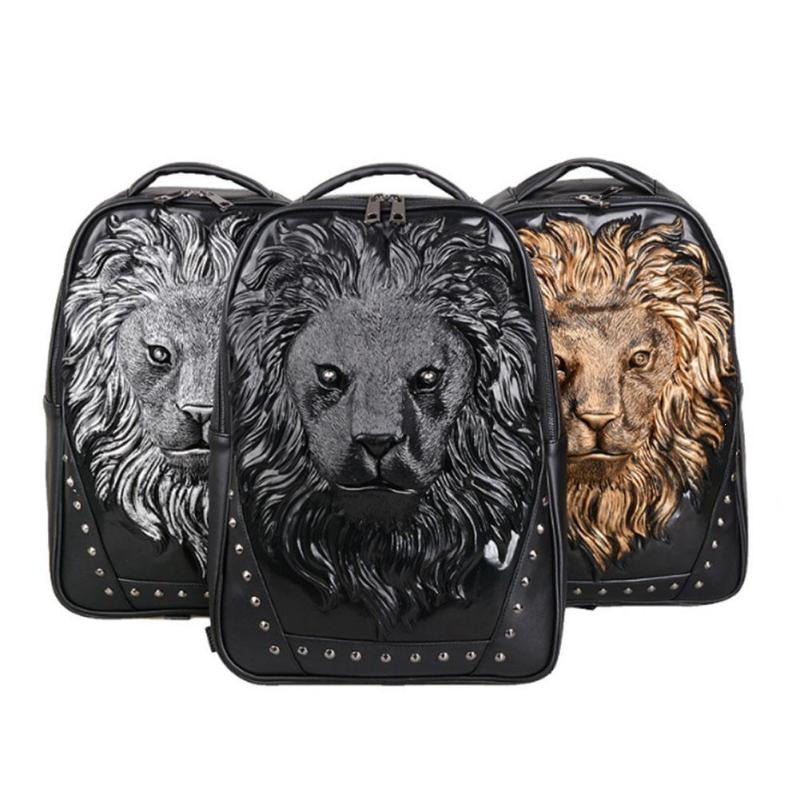 3D Emboss Lion School Bags For Men Women Backpacks Laptop Bags PU Leather Black Travel Backpack School Teenagers Girls Rivet 3 цены