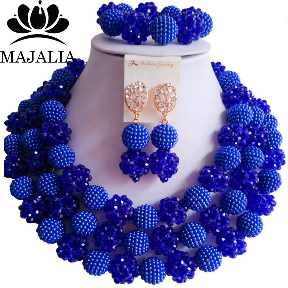 Fashion nigerian wedding Royal Blue Crystal and plastic african beads jewelry Set Bridal jewelry Sets Free shipping Set t-1723Fashion nigerian wedding Royal Blue Crystal and plastic african beads jewelry Set Bridal jewelry Sets Free shipping Set t-1723