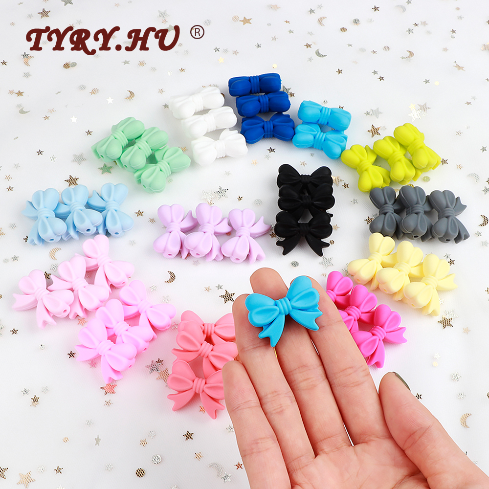 TYRY.HU 20Pc Cartoon Silicone Beads BPA Free Bow Tie Baby Food Grade Teething Necklace DIY Bowknot Chewable Baby Teething Gift