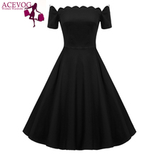 ACEVOG Retro Women Off Shoulder Short Sleeve Plain Swing Dress Plaid Dot Print Sexy Elegant Party Dress