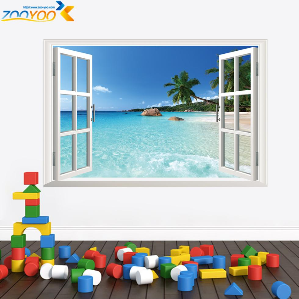 3d poster design online - Window Frame Whole View Stickers Zooyoo1430 3d Wall Mural Art Living Room Decoration Home Decor Eco Friendly Posters
