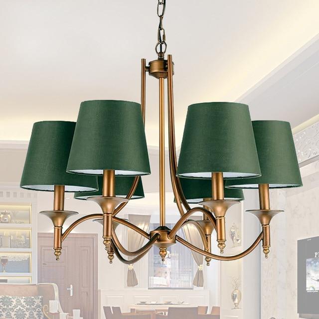 Retro Grün Shade Bar/Kaffee Haus/Home Decor Einfache Land Bronze  Kronleuchter Innenpendelleuchte Hochzeitszimmer
