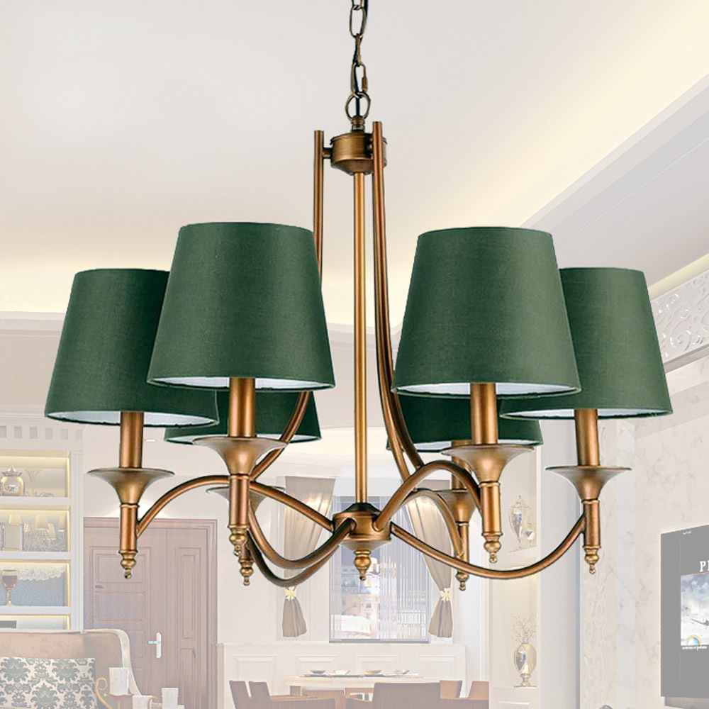 Chandelier lamp shades - Retro Green Shade Bar Coffee House Home Light Decor Simple Country Bronze Chandeliers Indoor