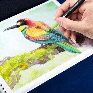 Image 5 - Набор кистей с двумя наконечниками, 60/72/100 цветов, на водной основе, для рисования, акварельные маркеры, школьные принадлежности