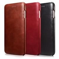 ICarer For IPhone 6 6S 7 8 Plus Case Luxury Brand Vintage Genuine Leather Hard Flip